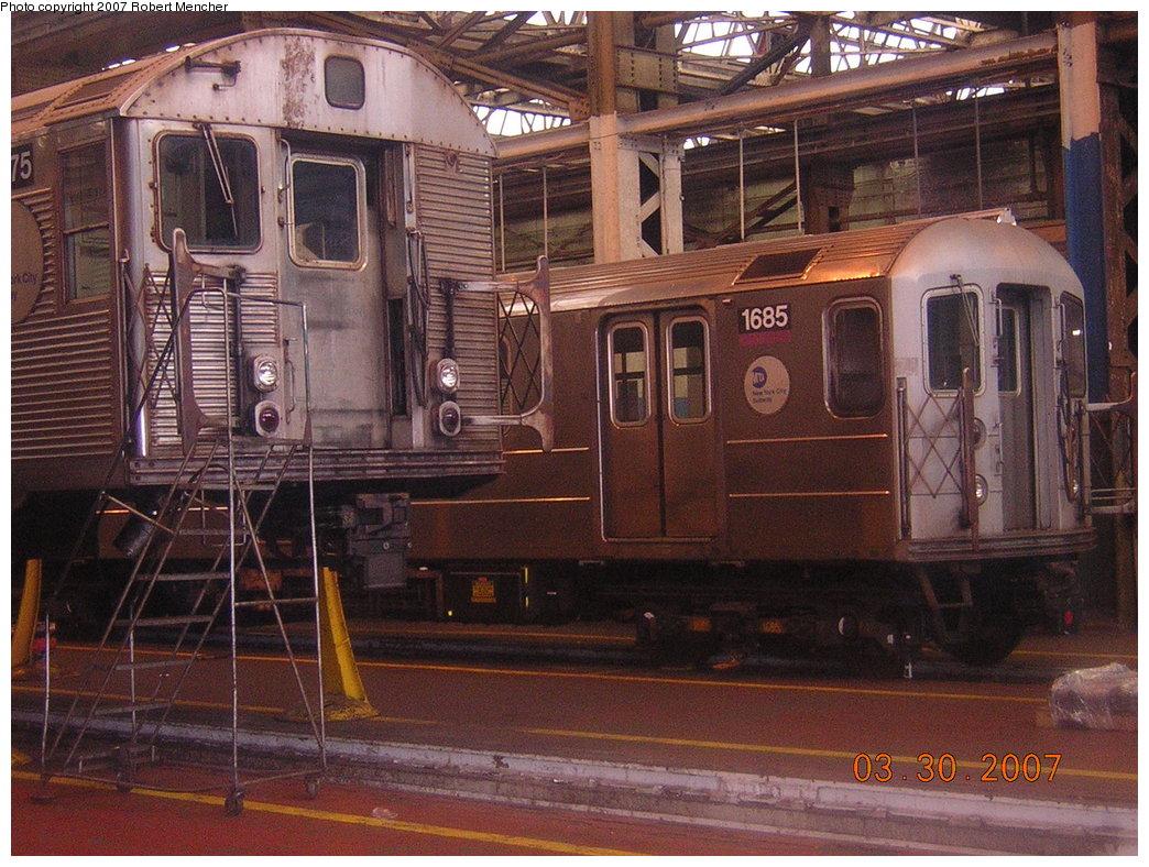 (252k, 1044x788)<br><b>Country:</b> United States<br><b>City:</b> New York<br><b>System:</b> New York City Transit<br><b>Location:</b> 207th Street Shop<br><b>Car:</b> R-62A (Bombardier, 1984-1987)  1685 <br><b>Photo by:</b> Robert Mencher<br><b>Date:</b> 3/30/2007<br><b>Viewed (this week/total):</b> 0 / 2027