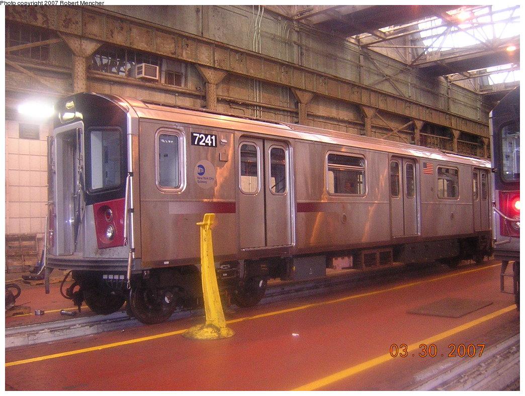 (240k, 1044x788)<br><b>Country:</b> United States<br><b>City:</b> New York<br><b>System:</b> New York City Transit<br><b>Location:</b> 207th Street Shop<br><b>Car:</b> R-142A (Primary Order, Kawasaki, 1999-2002)  7241 <br><b>Photo by:</b> Robert Mencher<br><b>Date:</b> 3/30/2007<br><b>Viewed (this week/total):</b> 3 / 3049