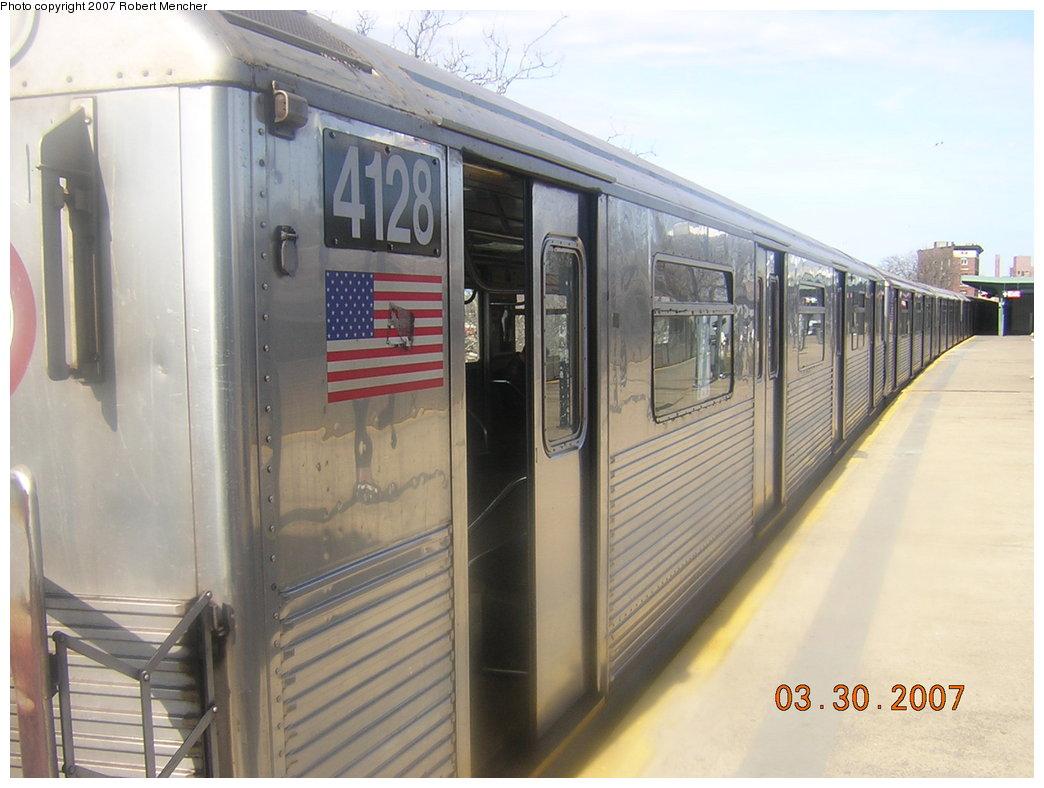 (179k, 1044x788)<br><b>Country:</b> United States<br><b>City:</b> New York<br><b>System:</b> New York City Transit<br><b>Line:</b> IND Rockaway<br><b>Location:</b> Mott Avenue/Far Rockaway <br><b>Route:</b> A<br><b>Car:</b> R-38 (St. Louis, 1966-1967)  4128 <br><b>Photo by:</b> Robert Mencher<br><b>Date:</b> 3/30/2007<br><b>Viewed (this week/total):</b> 1 / 2400