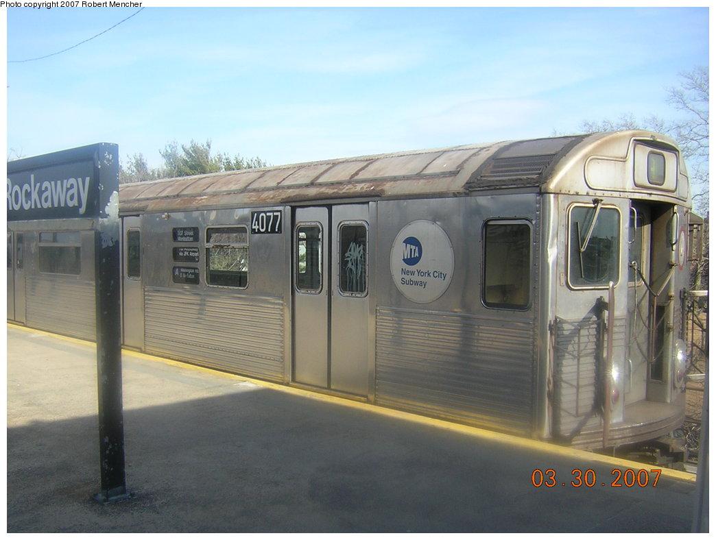 (170k, 1044x788)<br><b>Country:</b> United States<br><b>City:</b> New York<br><b>System:</b> New York City Transit<br><b>Line:</b> IND Rockaway<br><b>Location:</b> Mott Avenue/Far Rockaway <br><b>Route:</b> A<br><b>Car:</b> R-38 (St. Louis, 1966-1967)  4077 <br><b>Photo by:</b> Robert Mencher<br><b>Date:</b> 3/30/2007<br><b>Viewed (this week/total):</b> 1 / 2255