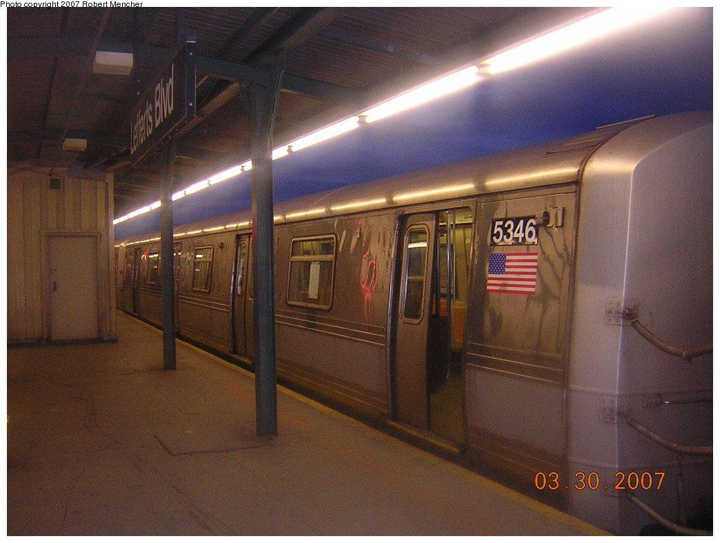 (207k, 1044x788)<br><b>Country:</b> United States<br><b>City:</b> New York<br><b>System:</b> New York City Transit<br><b>Line:</b> IND Fulton Street Line<br><b>Location:</b> Lefferts Boulevard <br><b>Route:</b> A<br><b>Car:</b> R-44 (St. Louis, 1971-73) 5346 <br><b>Photo by:</b> Robert Mencher<br><b>Date:</b> 3/30/2007<br><b>Viewed (this week/total):</b> 1 / 1803