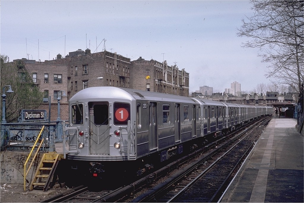 (229k, 1024x683)<br><b>Country:</b> United States<br><b>City:</b> New York<br><b>System:</b> New York City Transit<br><b>Line:</b> IRT West Side Line<br><b>Location:</b> Dyckman Street <br><b>Route:</b> 1<br><b>Car:</b> R-62A (Bombardier, 1984-1987)  2173 <br><b>Photo by:</b> Eric Oszustowicz<br><b>Collection of:</b> Joe Testagrose<br><b>Date:</b> 4/12/1987<br><b>Viewed (this week/total):</b> 1 / 3949