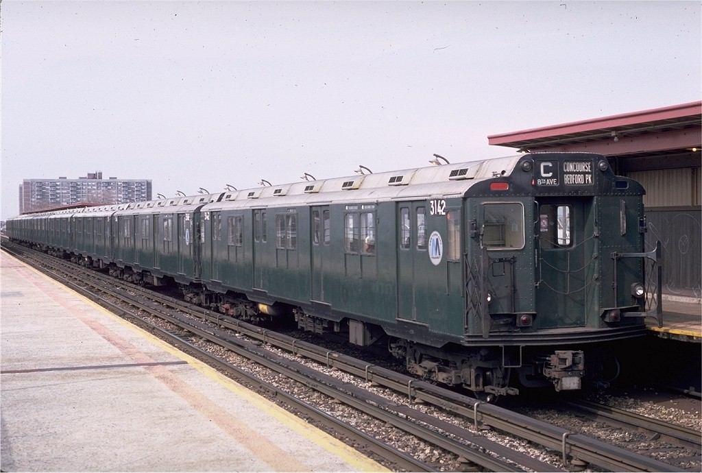 (183k, 1024x690)<br><b>Country:</b> United States<br><b>City:</b> New York<br><b>System:</b> New York City Transit<br><b>Line:</b> IND Rockaway<br><b>Location:</b> Beach 90th Street/Holland <br><b>Route:</b> C<br><b>Car:</b> R-10 (American Car & Foundry, 1948) 3142 <br><b>Photo by:</b> Eric Oszustowicz<br><b>Collection of:</b> Joe Testagrose<br><b>Date:</b> 4/3/1987<br><b>Viewed (this week/total):</b> 1 / 5052