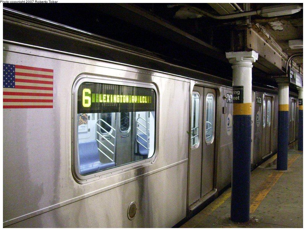 (190k, 1044x788)<br><b>Country:</b> United States<br><b>City:</b> New York<br><b>System:</b> New York City Transit<br><b>Line:</b> IRT East Side Line<br><b>Location:</b> Spring Street <br><b>Route:</b> 6<br><b>Car:</b> R-142A (Primary Order, Kawasaki, 1999-2002)  7479 <br><b>Photo by:</b> Roberto C. Tobar<br><b>Date:</b> 4/4/2007<br><b>Viewed (this week/total):</b> 3 / 4336