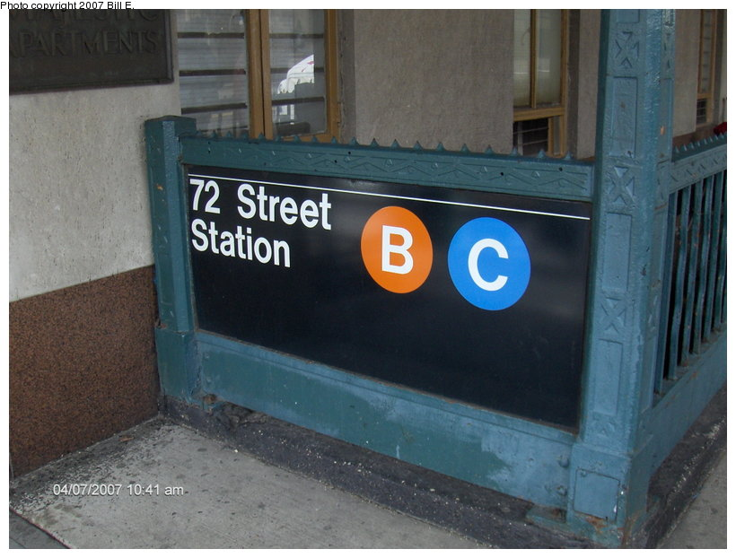 (102k, 820x622)<br><b>Country:</b> United States<br><b>City:</b> New York<br><b>System:</b> New York City Transit<br><b>Line:</b> IND 8th Avenue Line<br><b>Location:</b> 72nd Street <br><b>Photo by:</b> Bill E.<br><b>Date:</b> 4/7/2007<br><b>Notes:</b> Station entrance.<br><b>Viewed (this week/total):</b> 6 / 3006