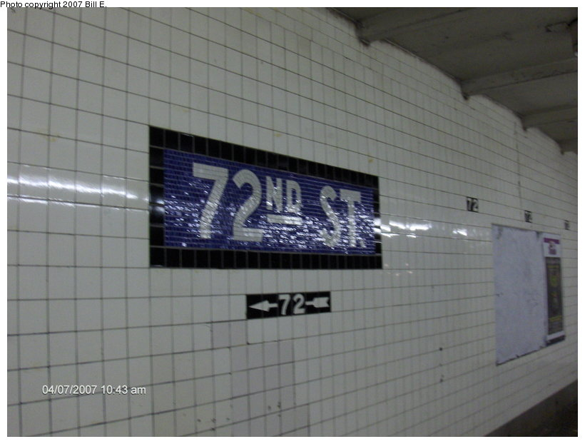 (81k, 820x622)<br><b>Country:</b> United States<br><b>City:</b> New York<br><b>System:</b> New York City Transit<br><b>Line:</b> IND 8th Avenue Line<br><b>Location:</b> 72nd Street <br><b>Photo by:</b> Bill E.<br><b>Date:</b> 4/7/2007<br><b>Notes:</b> Mosaic name tablet.<br><b>Viewed (this week/total):</b> 0 / 2109
