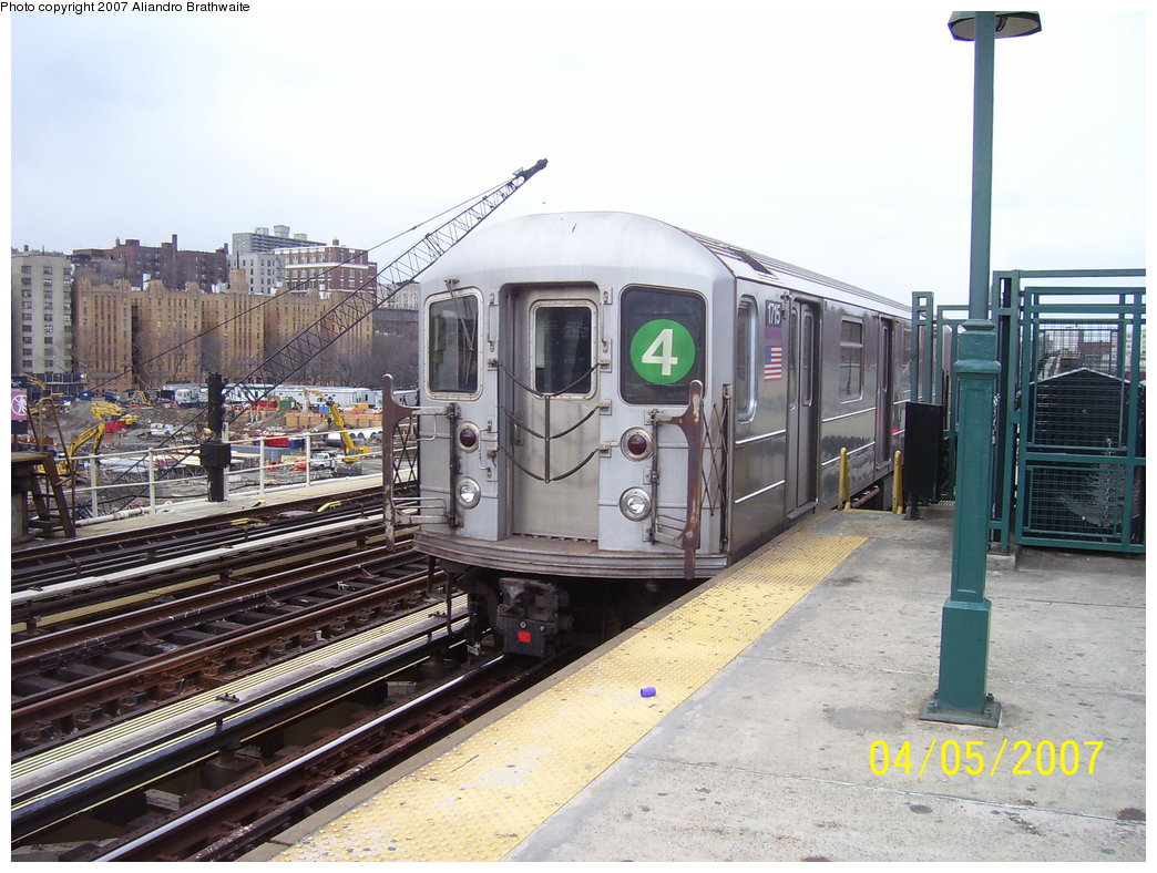 (203k, 1044x788)<br><b>Country:</b> United States<br><b>City:</b> New York<br><b>System:</b> New York City Transit<br><b>Line:</b> IRT Woodlawn Line<br><b>Location:</b> 161st Street/River Avenue (Yankee Stadium) <br><b>Route:</b> 4<br><b>Car:</b> R-62A (Bombardier, 1984-1987)  1715 <br><b>Photo by:</b> Aliandro Brathwaite<br><b>Date:</b> 4/5/2007<br><b>Viewed (this week/total):</b> 1 / 3185
