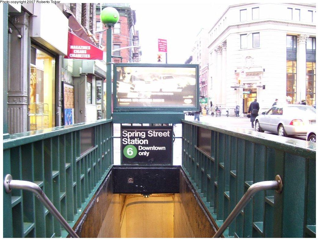 (168k, 1044x788)<br><b>Country:</b> United States<br><b>City:</b> New York<br><b>System:</b> New York City Transit<br><b>Line:</b> IRT East Side Line<br><b>Location:</b> Spring Street <br><b>Photo by:</b> Roberto C. Tobar<br><b>Date:</b> 4/4/2007<br><b>Notes:</b> Station entrance.<br><b>Viewed (this week/total):</b> 0 / 2583