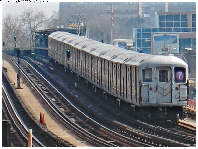(115k, 820x620)<br><b>Country:</b> United States<br><b>City:</b> New York<br><b>System:</b> New York City Transit<br><b>Line:</b> IRT Flushing Line<br><b>Location:</b> 46th Street/Bliss Street <br><b>Route:</b> 7<br><b>Car:</b> R-62A (Bombardier, 1984-1987)  2149 <br><b>Photo by:</b> Gary Chatterton<br><b>Date:</b> 4/3/2007<br><b>Viewed (this week/total):</b> 0 / 2299