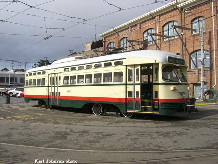 (163k, 720x540)<br><b>Country:</b> United States<br><b>City:</b> San Francisco/Bay Area, CA<br><b>System:</b> SF MUNI<br><b>Location:</b> Geneva Yard <br><b>Car:</b> SF MUNI PCC (Ex-NJTransit, Ex-Twin City) (St. Louis Car Co., 1946-1947)  1072 <br><b>Photo by:</b> Karl Johnson<br><b>Collection of:</b> Peter Ehrlich<br><b>Date:</b> 3/26/2007<br><b>Notes:</b> Delivery of 1072. Being backed into Geneva Yard.<br><b>Viewed (this week/total):</b> 2 / 1616