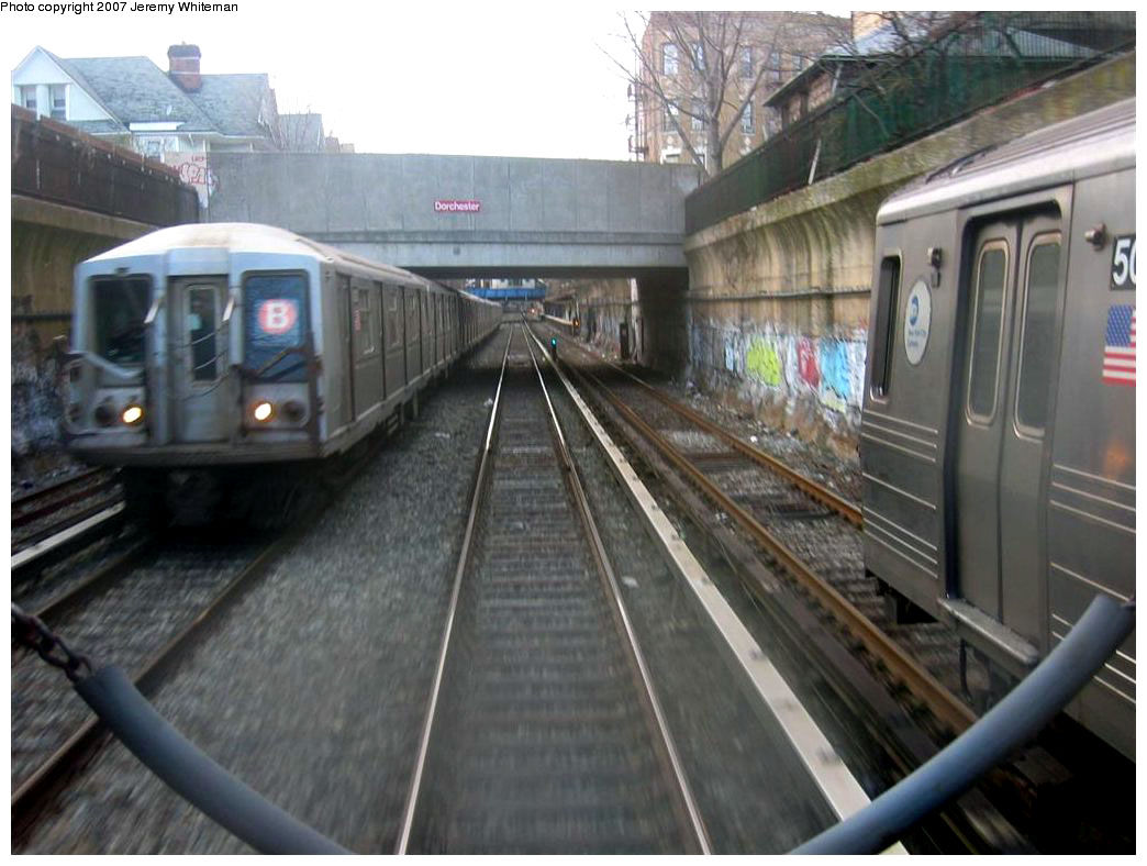 (158k, 1044x788)<br><b>Country:</b> United States<br><b>City:</b> New York<br><b>System:</b> New York City Transit<br><b>Line:</b> BMT Brighton Line<br><b>Location:</b> Cortelyou Road <br><b>Route:</b> B<br><b>Car:</b> R-40 (St. Louis, 1968)   <br><b>Photo by:</b> Jeremy Whiteman<br><b>Date:</b> 4/6/2007<br><b>Viewed (this week/total):</b> 2 / 3721