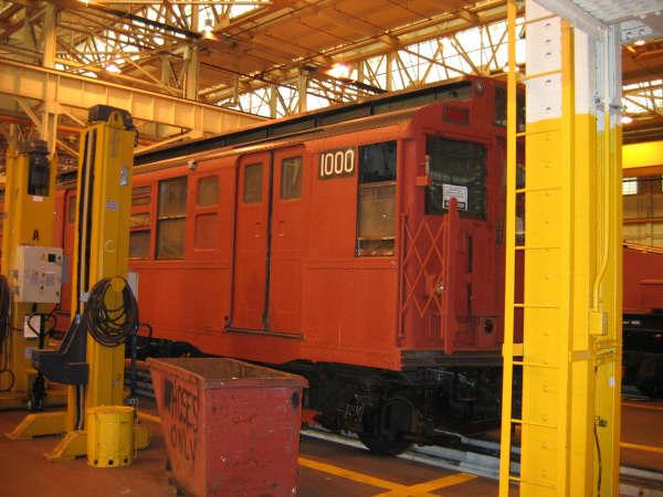 (51k, 600x450)<br><b>Country:</b> United States<br><b>City:</b> New York<br><b>System:</b> New York City Transit<br><b>Location:</b> Coney Island Shop/Overhaul & Repair Shop<br><b>Car:</b> R-6-3 (American Car & Foundry, 1935)  1000 <br><b>Photo by:</b> Professor J<br><b>Date:</b> 4/14/2007<br><b>Viewed (this week/total):</b> 1 / 2342