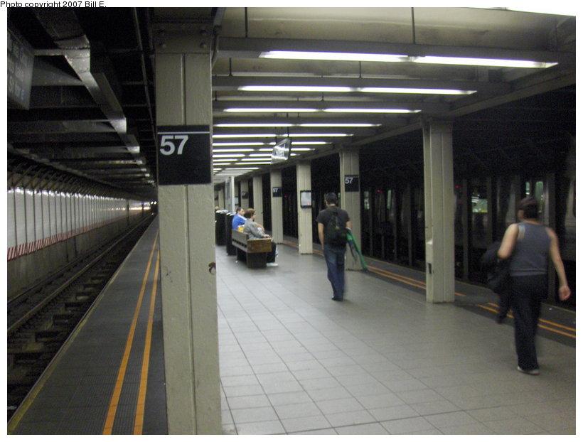 (94k, 820x622)<br><b>Country:</b> United States<br><b>City:</b> New York<br><b>System:</b> New York City Transit<br><b>Line:</b> BMT Broadway Line<br><b>Location:</b> 57th Street <br><b>Photo by:</b> Bill E.<br><b>Date:</b> 4/21/2007<br><b>Notes:</b> Platform view.<br><b>Viewed (this week/total):</b> 1 / 2599