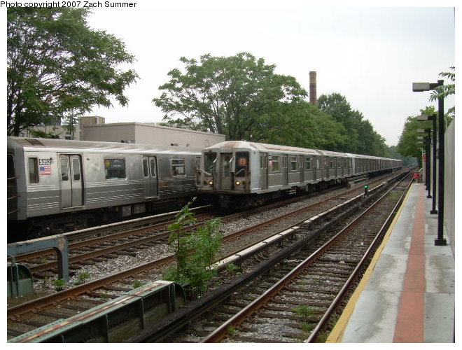 (138k, 660x500)<br><b>Country:</b> United States<br><b>City:</b> New York<br><b>System:</b> New York City Transit<br><b>Line:</b> BMT Brighton Line<br><b>Location:</b> Avenue M <br><b>Route:</b> Q<br><b>Car:</b> R-68A (Kawasaki, 1988-1989)  5052 <br><b>Photo by:</b> Zach Summer<br><b>Date:</b> 8/25/2006<br><b>Viewed (this week/total):</b> 2 / 2779