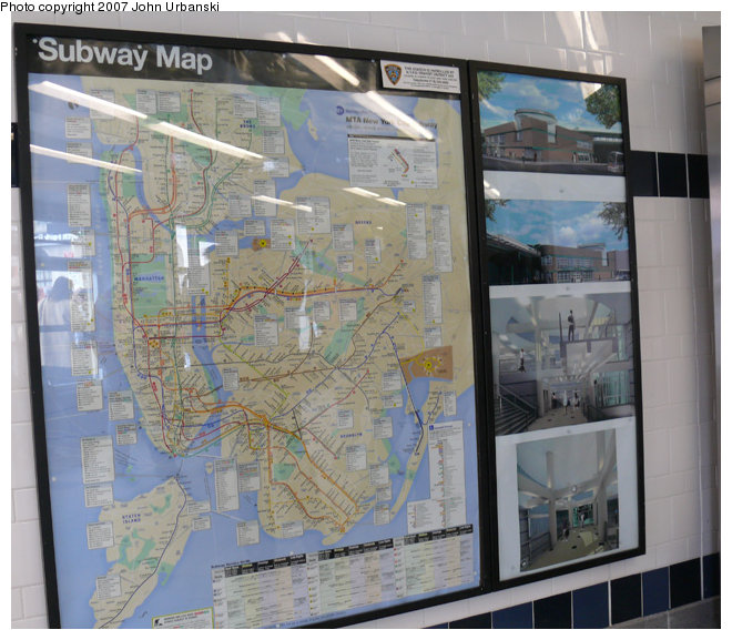 (146k, 660x577)<br><b>Country:</b> United States<br><b>City:</b> New York<br><b>System:</b> New York City Transit<br><b>Line:</b> BMT Myrtle Avenue Line<br><b>Location:</b> Myrtle/Wyckoff Headhouse/Transfer<br><b>Photo by:</b> John Urbanski<br><b>Date:</b> 4/19/2007<br><b>Notes:</b> Map with adjacent panels showing artists' conceptions of the new transfer area/headhouse.<br><b>Viewed (this week/total):</b> 0 / 2717