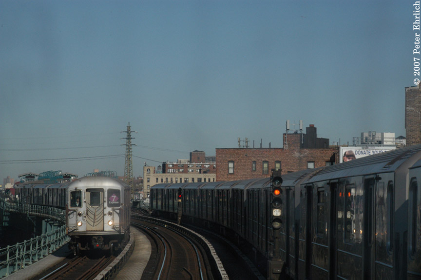 (130k, 864x574)<br><b>Country:</b> United States<br><b>City:</b> New York<br><b>System:</b> New York City Transit<br><b>Line:</b> IRT Flushing Line<br><b>Location:</b> 61st Street/Woodside <br><b>Car:</b> R-62A (Bombardier, 1984-1987)  1693 <br><b>Photo by:</b> Peter Ehrlich<br><b>Date:</b> 4/20/2007<br><b>Notes:</b> View from an outbound express train, approaching 61st/Woodside.<br><b>Viewed (this week/total):</b> 0 / 2278