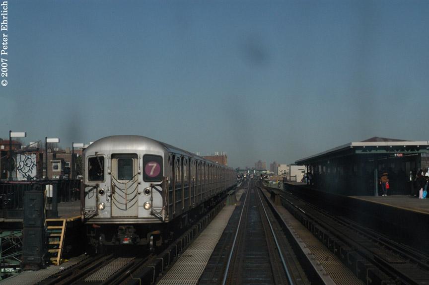 (131k, 864x574)<br><b>Country:</b> United States<br><b>City:</b> New York<br><b>System:</b> New York City Transit<br><b>Line:</b> IRT Flushing Line<br><b>Location:</b> 82nd Street/Jackson Heights <br><b>Car:</b> R-62A (Bombardier, 1984-1987)  1756 <br><b>Photo by:</b> Peter Ehrlich<br><b>Date:</b> 4/20/2007<br><b>Notes:</b> 82St/Jackson Heights Station inbound.<br><b>Viewed (this week/total):</b> 0 / 1995