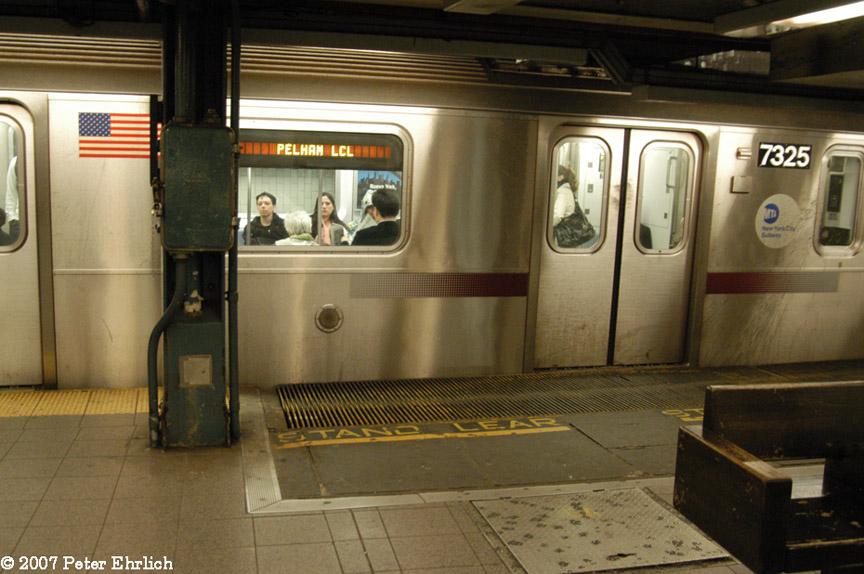 (181k, 864x574)<br><b>Country:</b> United States<br><b>City:</b> New York<br><b>System:</b> New York City Transit<br><b>Line:</b> IRT East Side Line<br><b>Location:</b> 14th Street/Union Square <br><b>Car:</b> R-142A (Primary Order, Kawasaki, 1999-2002)  7325 <br><b>Photo by:</b> Peter Ehrlich<br><b>Date:</b> 4/20/2007<br><b>Notes:</b> Local track gap fillers.<br><b>Viewed (this week/total):</b> 0 / 3560