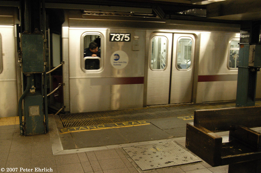 (174k, 864x574)<br><b>Country:</b> United States<br><b>City:</b> New York<br><b>System:</b> New York City Transit<br><b>Line:</b> IRT East Side Line<br><b>Location:</b> 14th Street/Union Square <br><b>Car:</b> R-142A (Primary Order, Kawasaki, 1999-2002)  7375 <br><b>Photo by:</b> Peter Ehrlich<br><b>Date:</b> 4/20/2007<br><b>Notes:</b> Local track gap fillers.<br><b>Viewed (this week/total):</b> 2 / 4205