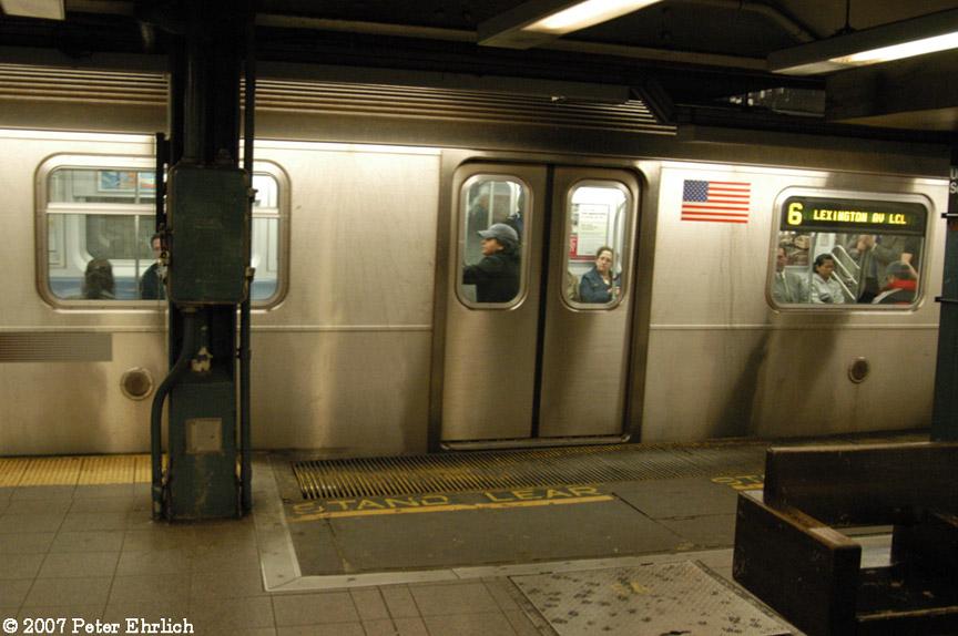 (168k, 864x574)<br><b>Country:</b> United States<br><b>City:</b> New York<br><b>System:</b> New York City Transit<br><b>Line:</b> IRT East Side Line<br><b>Location:</b> 14th Street/Union Square <br><b>Car:</b> R-142A (Primary Order, Kawasaki, 1999-2002)  7375 <br><b>Photo by:</b> Peter Ehrlich<br><b>Date:</b> 4/20/2007<br><b>Notes:</b> Local track gap fillers.<br><b>Viewed (this week/total):</b> 2 / 3681