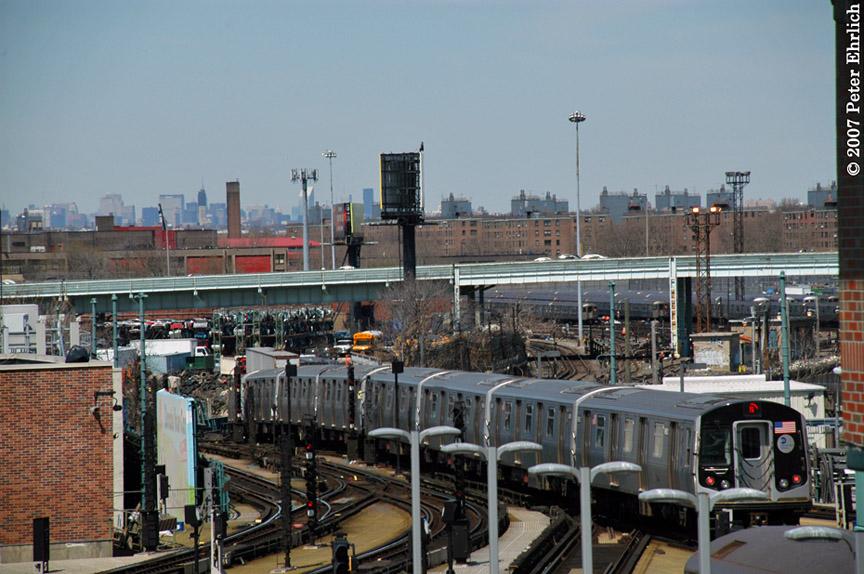 (207k, 864x574)<br><b>Country:</b> United States<br><b>City:</b> New York<br><b>System:</b> New York City Transit<br><b>Location:</b> Coney Island/Stillwell Avenue<br><b>Car:</b> R-160A-2 (Alstom, 2005-2008, 5 car sets)  8662 <br><b>Photo by:</b> Peter Ehrlich<br><b>Date:</b> 4/20/2007<br><b>Notes:</b> Leaving Coney Island/Stillwell Avenue, trailing view.<br><b>Viewed (this week/total):</b> 1 / 3407