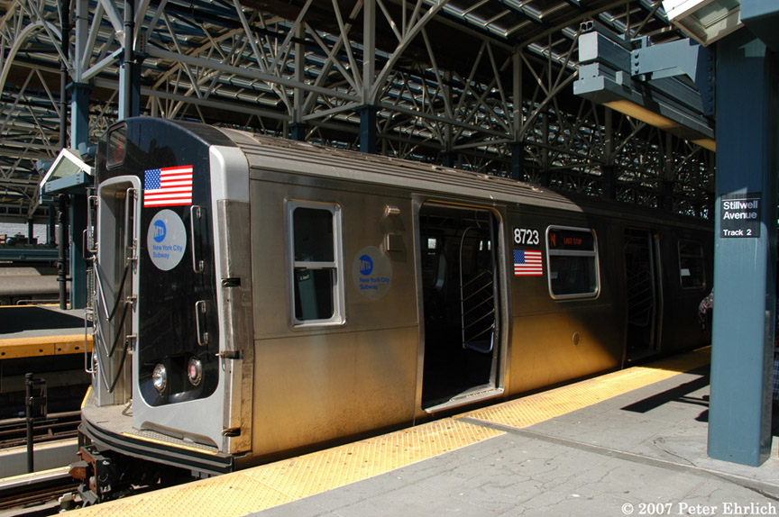 (213k, 864x574)<br><b>Country:</b> United States<br><b>City:</b> New York<br><b>System:</b> New York City Transit<br><b>Location:</b> Coney Island/Stillwell Avenue<br><b>Car:</b> R-160B (Kawasaki, 2005-2008)  8723 <br><b>Photo by:</b> Peter Ehrlich<br><b>Date:</b> 4/20/2007<br><b>Viewed (this week/total):</b> 0 / 2651