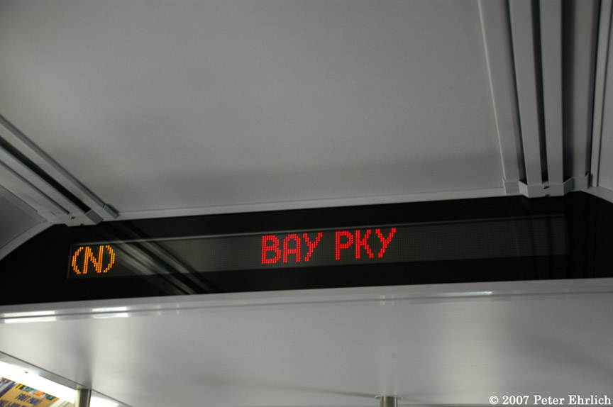 (95k, 864x574)<br><b>Country:</b> United States<br><b>City:</b> New York<br><b>System:</b> New York City Transit<br><b>Car:</b> R-160B (Kawasaki, 2005-2008)  8723 <br><b>Photo by:</b> Peter Ehrlich<br><b>Date:</b> 4/20/2007<br><b>Notes:</b> Destination sign.<br><b>Viewed (this week/total):</b> 0 / 1960