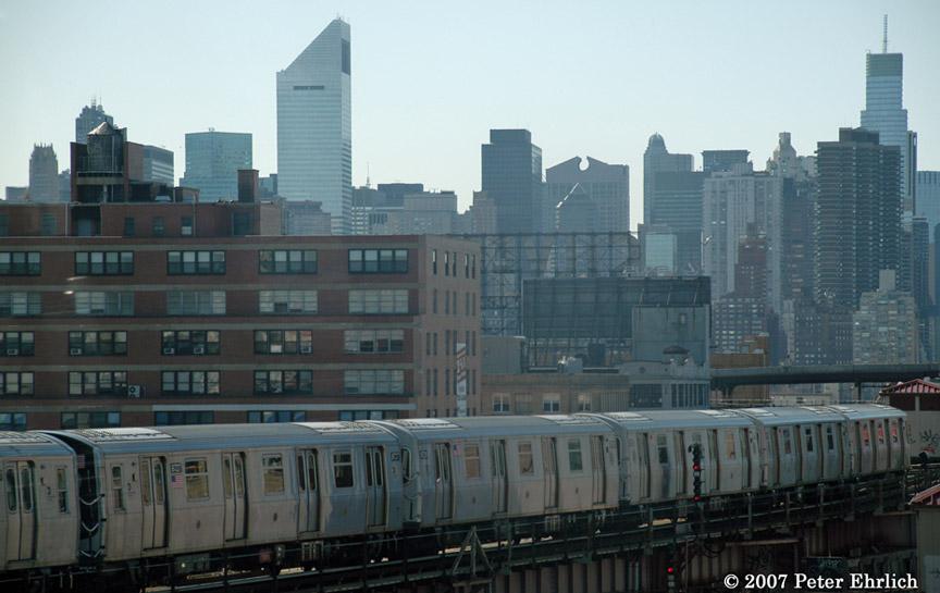 (152k, 864x545)<br><b>Country:</b> United States<br><b>City:</b> New York<br><b>System:</b> New York City Transit<br><b>Line:</b> BMT Astoria Line<br><b>Location:</b> Queensborough Plaza <br><b>Car:</b> R-160B (Kawasaki, 2005-2008)  8727 <br><b>Photo by:</b> Peter Ehrlich<br><b>Date:</b> 4/20/2007<br><b>Notes:</b> Leaving Queens Plaza outbound, view from first car of this R160 train.<br><b>Viewed (this week/total):</b> 0 / 2574
