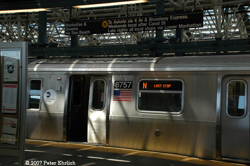 (187k, 864x574)<br><b>Country:</b> United States<br><b>City:</b> New York<br><b>System:</b> New York City Transit<br><b>Location:</b> Coney Island/Stillwell Avenue<br><b>Car:</b> R-160B (Kawasaki, 2005-2008)  8757 <br><b>Photo by:</b> Peter Ehrlich<br><b>Date:</b> 4/20/2007<br><b>Viewed (this week/total):</b> 0 / 3747