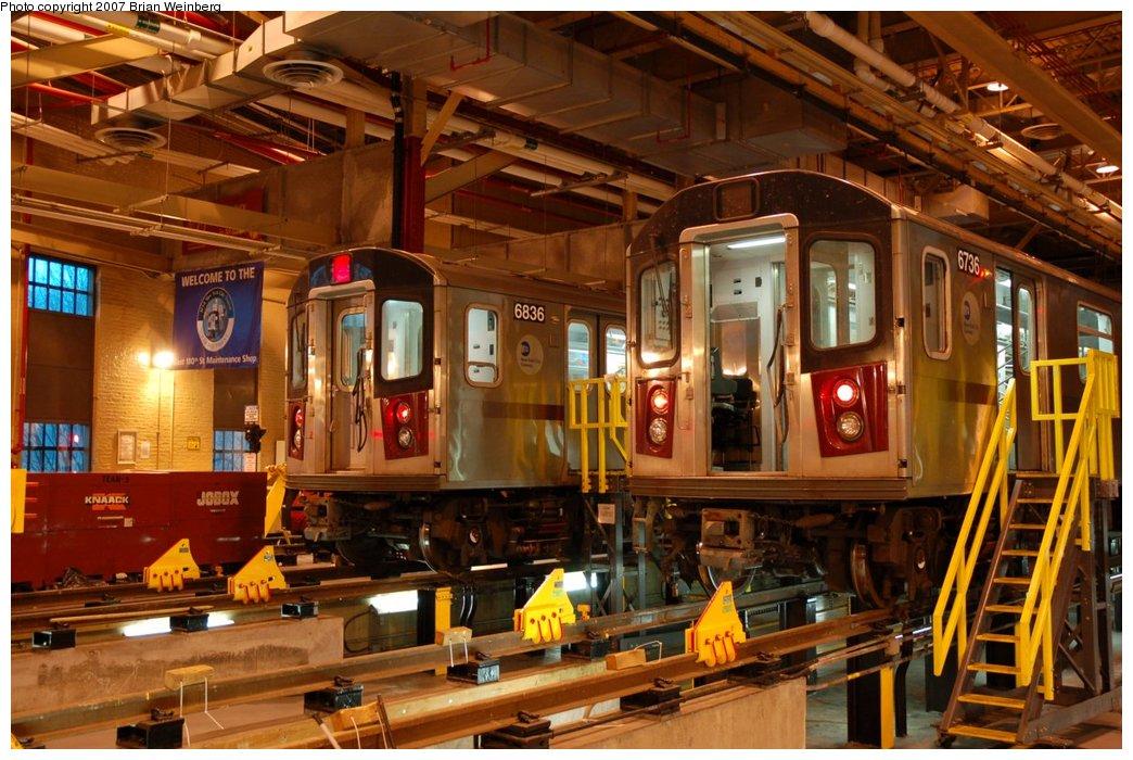 (243k, 1044x700)<br><b>Country:</b> United States<br><b>City:</b> New York<br><b>System:</b> New York City Transit<br><b>Location:</b> East 180th Street Shop<br><b>Car:</b> R-142 (Primary Order, Bombardier, 1999-2002)  6836/6736 <br><b>Photo by:</b> Brian Weinberg<br><b>Date:</b> 4/15/2007<br><b>Viewed (this week/total):</b> 2 / 4160
