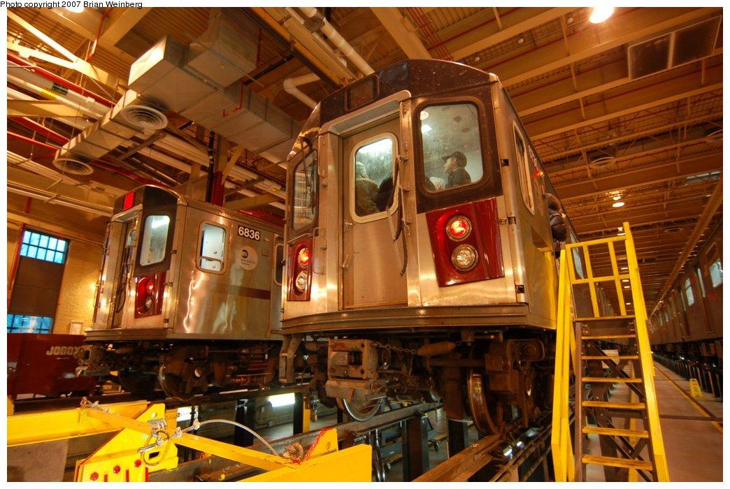 (235k, 1044x700)<br><b>Country:</b> United States<br><b>City:</b> New York<br><b>System:</b> New York City Transit<br><b>Location:</b> East 180th Street Shop<br><b>Car:</b> R-142 (Primary Order, Bombardier, 1999-2002)  6836/6736 <br><b>Photo by:</b> Brian Weinberg<br><b>Date:</b> 4/15/2007<br><b>Viewed (this week/total):</b> 0 / 2576