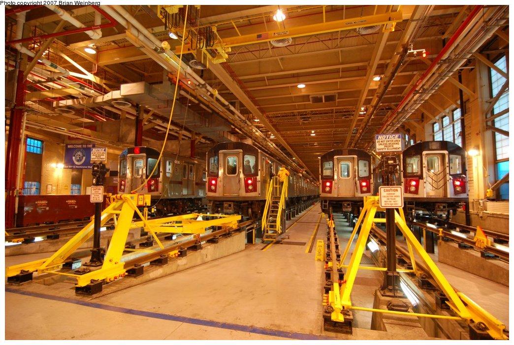 (257k, 1044x700)<br><b>Country:</b> United States<br><b>City:</b> New York<br><b>System:</b> New York City Transit<br><b>Location:</b> East 180th Street Shop<br><b>Car:</b> R-142 (Primary Order, Bombardier, 1999-2002)  6736/6836/6861 <br><b>Photo by:</b> Brian Weinberg<br><b>Date:</b> 4/15/2007<br><b>Notes:</b> With R-142A 7245.<br><b>Viewed (this week/total):</b> 0 / 3715