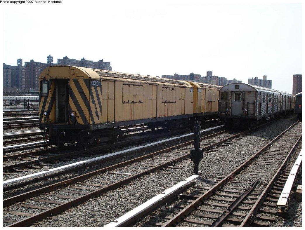 (205k, 1044x788)<br><b>Country:</b> United States<br><b>City:</b> New York<br><b>System:</b> New York City Transit<br><b>Location:</b> Coney Island Yard<br><b>Car:</b> R-123 Continuous Welded Rail Handler (R17/R21/R22 Rebuilds) CCR01 <br><b>Photo by:</b> Michael Hodurski<br><b>Date:</b> 4/14/2007<br><b>Viewed (this week/total):</b> 0 / 1943