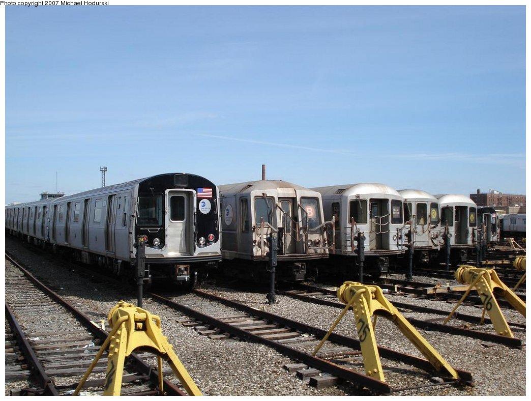 (186k, 1044x788)<br><b>Country:</b> United States<br><b>City:</b> New York<br><b>System:</b> New York City Transit<br><b>Location:</b> Coney Island Yard<br><b>Car:</b> R-160B (Kawasaki, 2005-2008)  8738 <br><b>Photo by:</b> Michael Hodurski<br><b>Date:</b> 4/14/2007<br><b>Viewed (this week/total):</b> 0 / 2215