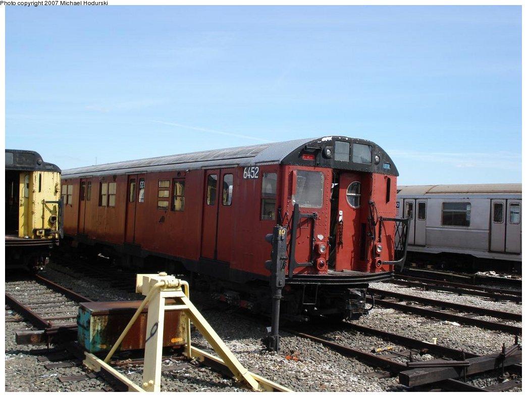 (168k, 1044x788)<br><b>Country:</b> United States<br><b>City:</b> New York<br><b>System:</b> New York City Transit<br><b>Location:</b> Coney Island Yard<br><b>Car:</b> R-16 (American Car & Foundry, 1955) 6452 <br><b>Photo by:</b> Michael Hodurski<br><b>Date:</b> 4/14/2007<br><b>Viewed (this week/total):</b> 1 / 2192