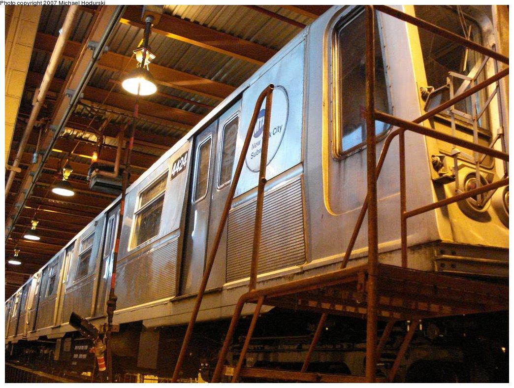 (220k, 1044x788)<br><b>Country:</b> United States<br><b>City:</b> New York<br><b>System:</b> New York City Transit<br><b>Location:</b> Coney Island Shop/Maint. & Inspection Shop<br><b>Car:</b> R-40 (St. Louis, 1968)  4424 <br><b>Photo by:</b> Michael Hodurski<br><b>Date:</b> 4/14/2007<br><b>Viewed (this week/total):</b> 1 / 1693