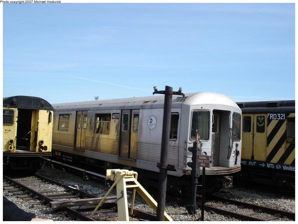 (144k, 1044x788)<br><b>Country:</b> United States<br><b>City:</b> New York<br><b>System:</b> New York City Transit<br><b>Location:</b> Coney Island Yard<br><b>Car:</b> R-42 (St. Louis, 1969-1970)  4878 <br><b>Photo by:</b> Michael Hodurski<br><b>Date:</b> 4/14/2007<br><b>Notes:</b> Being scrapped along with R14 RD321 on right.<br><b>Viewed (this week/total):</b> 2 / 1681