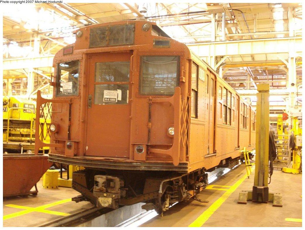 (193k, 1044x788)<br><b>Country:</b> United States<br><b>City:</b> New York<br><b>System:</b> New York City Transit<br><b>Location:</b> Coney Island Shop/Overhaul & Repair Shop<br><b>Car:</b> R-6-3 (American Car & Foundry, 1935)  1000 <br><b>Photo by:</b> Michael Hodurski<br><b>Date:</b> 4/14/2007<br><b>Viewed (this week/total):</b> 1 / 2147