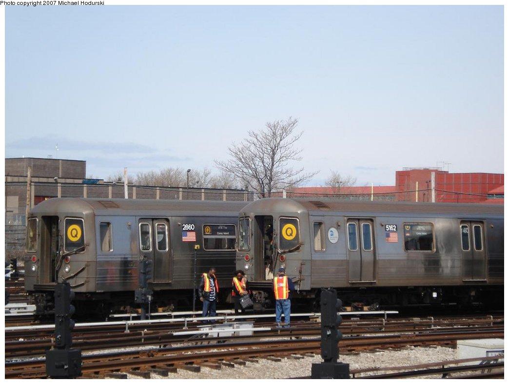 (139k, 1044x788)<br><b>Country:</b> United States<br><b>City:</b> New York<br><b>System:</b> New York City Transit<br><b>Location:</b> Coney Island Yard<br><b>Car:</b> R-68 (Westinghouse-Amrail, 1986-1988)  2860 <br><b>Photo by:</b> Michael Hodurski<br><b>Date:</b> 4/14/2007<br><b>Viewed (this week/total):</b> 2 / 2686