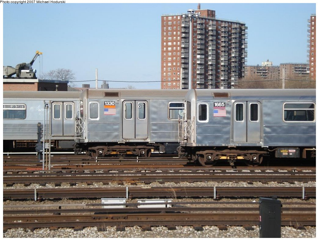 (194k, 1044x788)<br><b>Country:</b> United States<br><b>City:</b> New York<br><b>System:</b> New York City Transit<br><b>Location:</b> Coney Island Yard<br><b>Car:</b> R-62 (Kawasaki, 1983-1985)  1330 <br><b>Photo by:</b> Michael Hodurski<br><b>Date:</b> 4/14/2007<br><b>Viewed (this week/total):</b> 2 / 2259