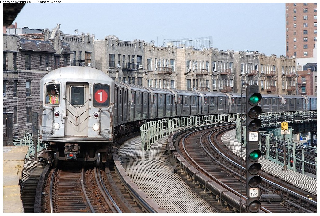 (291k, 1044x705)<br><b>Country:</b> United States<br><b>City:</b> New York<br><b>System:</b> New York City Transit<br><b>Line:</b> IRT West Side Line<br><b>Location:</b> Dyckman Street <br><b>Route:</b> 1<br><b>Car:</b> R-62A (Bombardier, 1984-1987)   <br><b>Photo by:</b> Richard Chase<br><b>Date:</b> 3/25/2010<br><b>Viewed (this week/total):</b> 4 / 1230