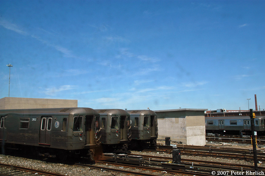 (147k, 864x574)<br><b>Country:</b> United States<br><b>City:</b> New York<br><b>System:</b> New York City Transit<br><b>Location:</b> Coney Island Yard<br><b>Car:</b> R-68 (Westinghouse-Amrail, 1986-1988)  2502 <br><b>Photo by:</b> Peter Ehrlich<br><b>Date:</b> 4/20/2007<br><b>Viewed (this week/total):</b> 1 / 2153