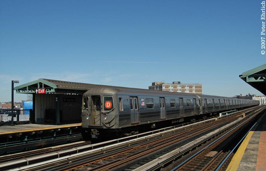 (161k, 864x556)<br><b>Country:</b> United States<br><b>City:</b> New York<br><b>System:</b> New York City Transit<br><b>Line:</b> BMT West End Line<br><b>Location:</b> 18th Avenue <br><b>Route:</b> D<br><b>Car:</b> R-68 (Westinghouse-Amrail, 1986-1988)  2684 <br><b>Photo by:</b> Peter Ehrlich<br><b>Date:</b> 4/20/2007<br><b>Viewed (this week/total):</b> 0 / 1931