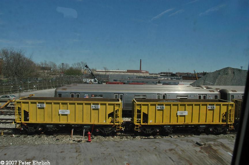(163k, 864x574)<br><b>Country:</b> United States<br><b>City:</b> New York<br><b>System:</b> New York City Transit<br><b>Location:</b> Coney Island Yard<br><b>Car:</b> R-80 MoW Hopper (1983, Maxon)  288/297 <br><b>Photo by:</b> Peter Ehrlich<br><b>Date:</b> 4/20/2007<br><b>Viewed (this week/total):</b> 0 / 1691