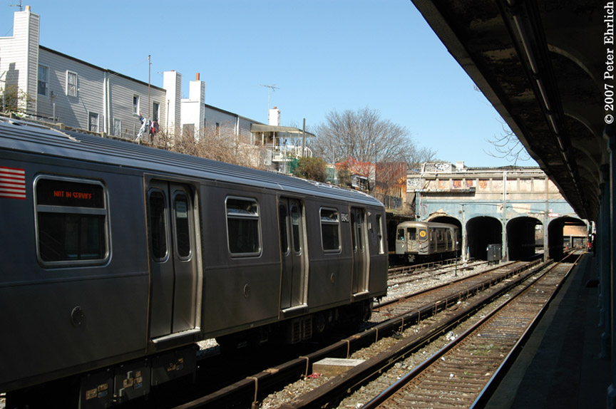 (181k, 864x574)<br><b>Country:</b> United States<br><b>City:</b> New York<br><b>System:</b> New York City Transit<br><b>Line:</b> BMT Sea Beach Line<br><b>Location:</b> 18th Avenue <br><b>Car:</b> R-160B (Kawasaki, 2005-2008)  8843 <br><b>Photo by:</b> Peter Ehrlich<br><b>Date:</b> 4/20/2007<br><b>Notes:</b> With R68A 5122.<br><b>Viewed (this week/total):</b> 0 / 2237