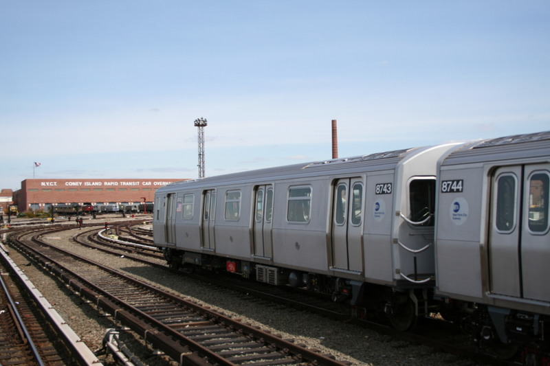 (101k, 800x533)<br><b>Country:</b> United States<br><b>City:</b> New York<br><b>System:</b> New York City Transit<br><b>Location:</b> Coney Island Yard<br><b>Car:</b> R-160B (Kawasaki, 2005-2008)  8743 <br><b>Photo by:</b> Neil Feldman<br><b>Date:</b> 4/14/2007<br><b>Viewed (this week/total):</b> 0 / 1743