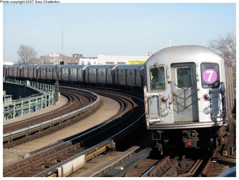 (107k, 820x620)<br><b>Country:</b> United States<br><b>City:</b> New York<br><b>System:</b> New York City Transit<br><b>Line:</b> IRT Flushing Line<br><b>Location:</b> 46th Street/Bliss Street <br><b>Route:</b> 7<br><b>Car:</b> R-62A (Bombardier, 1984-1987)  1675 <br><b>Photo by:</b> Gary Chatterton<br><b>Date:</b> 3/9/2007<br><b>Viewed (this week/total):</b> 0 / 1520