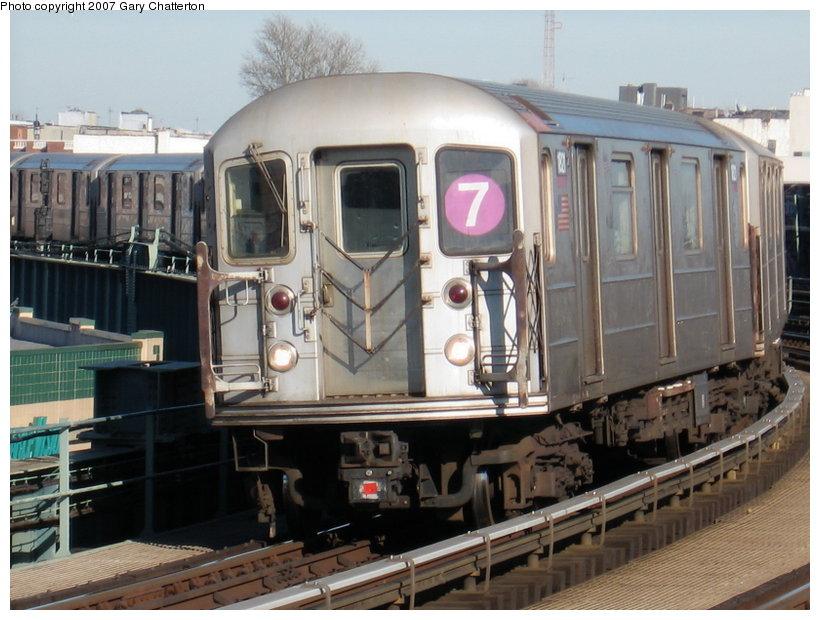 (116k, 820x620)<br><b>Country:</b> United States<br><b>City:</b> New York<br><b>System:</b> New York City Transit<br><b>Line:</b> IRT Flushing Line<br><b>Location:</b> 46th Street/Bliss Street <br><b>Route:</b> 7<br><b>Car:</b> R-62A (Bombardier, 1984-1987)  1821 <br><b>Photo by:</b> Gary Chatterton<br><b>Date:</b> 3/9/2007<br><b>Viewed (this week/total):</b> 3 / 1892