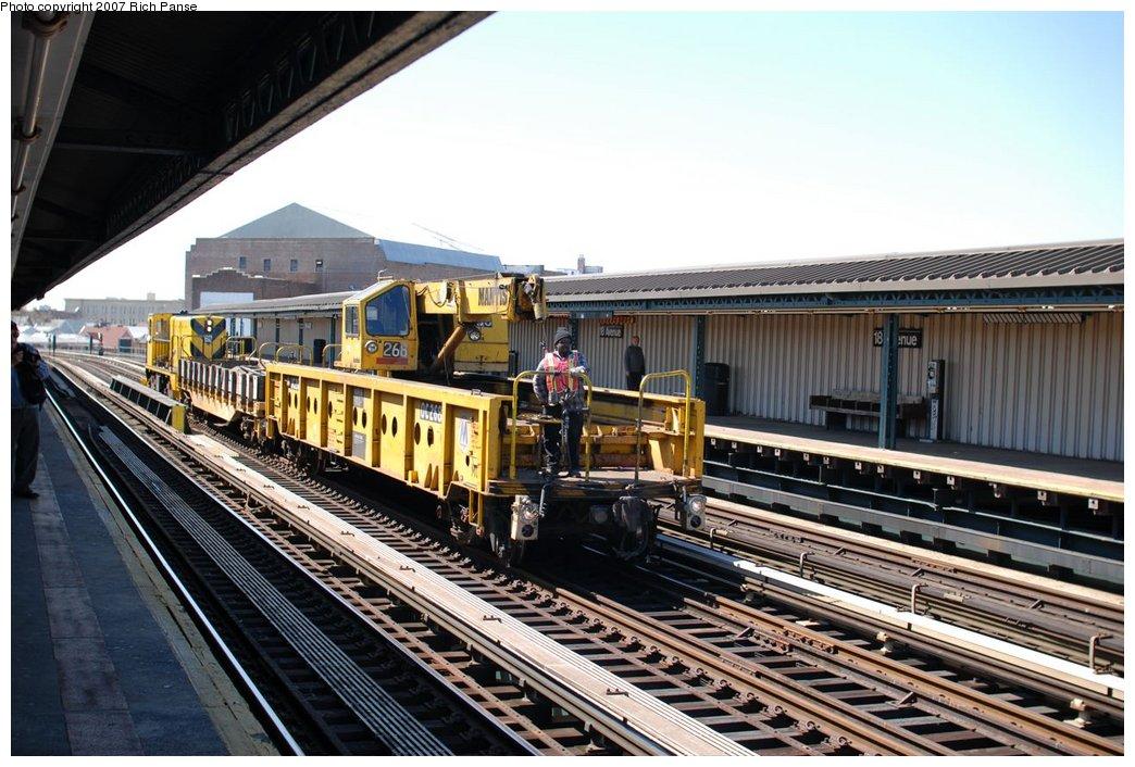 (208k, 1044x706)<br><b>Country:</b> United States<br><b>City:</b> New York<br><b>System:</b> New York City Transit<br><b>Line:</b> BMT West End Line<br><b>Location:</b> 18th Avenue <br><b>Route:</b> Work Service<br><b>Car:</b> R-113 Crane Car  268 <br><b>Photo by:</b> Richard Panse<br><b>Date:</b> 4/20/2007<br><b>Viewed (this week/total):</b> 1 / 1876