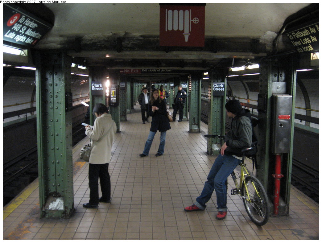 (177k, 1044x788)<br><b>Country:</b> United States<br><b>City:</b> New York<br><b>System:</b> New York City Transit<br><b>Line:</b> IRT Brooklyn Line<br><b>Location:</b> Clark Street <br><b>Photo by:</b> Lorraine Maruska<br><b>Date:</b> 4/11/2007<br><b>Viewed (this week/total):</b> 6 / 3197